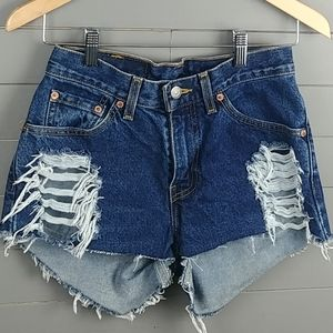 Levi's Distressed High Low Shorts
